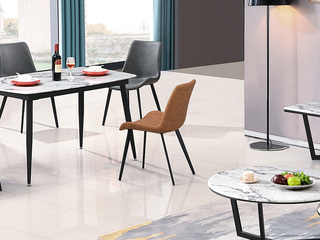 悦莱家居 极简 碳素钢脚+PU皮 Y352 灰色餐椅
