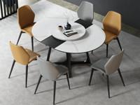 米勒 極簡 圓形進口巖板餐桌 可拉伸多功能餐桌