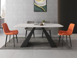 极简风格 意大利进口岩板N01#黑白色A型 1.8米餐桌