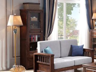 美式风格 泰国进口橡胶木 浅咖色 组合柜高柜