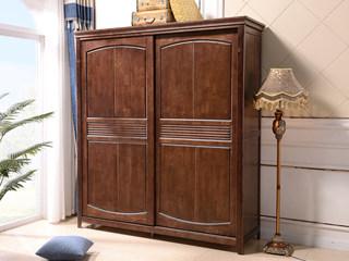 美式风格 泰国进口橡胶木 浅咖色 趟门衣柜