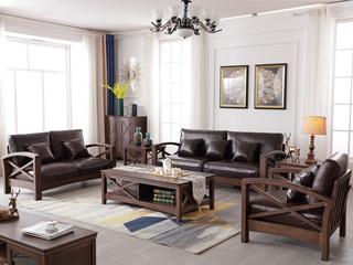 美式风格 泰国进口橡胶木 浅咖色 沙发组合(1+2+3)
