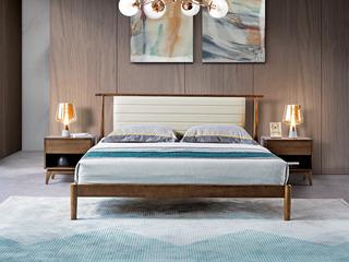 北欧风格 北美进口白蜡木 皮艺软靠 1.2*2.0米床