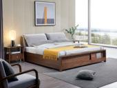 源木时光 北欧风格 北美进口白蜡木 布艺软靠 1.8*2.0米高箱床