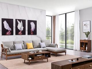 北欧风格 北美进口白蜡木 布艺沙发 转角沙发(1+3+贵妃)不分左右
