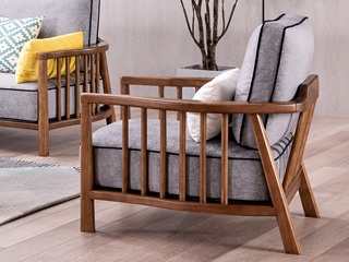 北欧风格 北美进口白蜡木 科技布沙发 单人沙发