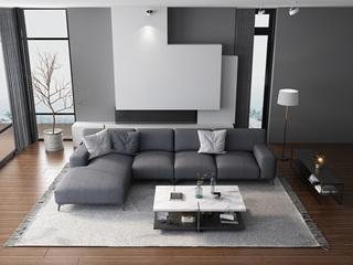 意式极简T20沙发 棉麻灰色布艺转角沙发 (1+3+右贵妃)