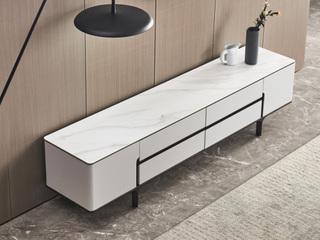 洛林菲勒 极简风格 实木脚 岩板 电视柜