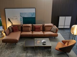 极简风格 科技布 羽绒 实木底框架 转角沙发(1+3+右贵妃)