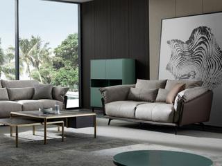极简风格 科技布+压纹皮 羽绒 实木底框架 双位沙发