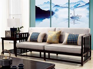 新中式 东南亚进口红檀木 真丝靠包 K901 三位沙发