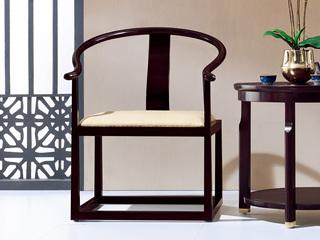 新中式 东南亚进口红檀木 麻布软包X01 休闲圈椅