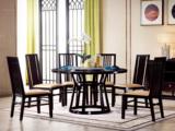 墨舍 新中式 东南亚进口红檀木 天然大理石(转盘)C951 圆餐台 1.5米餐桌