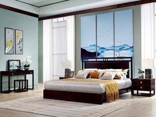 新中式 东南亚进口红檀木 W973 1.5米床