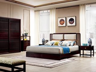 新中式 东南亚进口红檀木 麻料靠包W975 1.8米床
