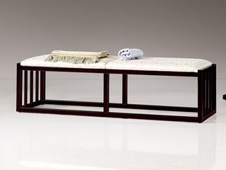 新中式 东南亚进口红檀木 高精密提花面料 W991 床尾凳