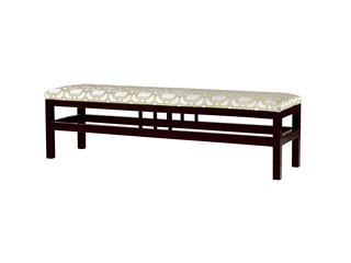 新中式 东南亚进口红檀木 高精密提花面料 W992 床尾凳