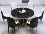 卡伦斯特 轻奢风格 大理石 不锈钢拉丝封釉镀钛金 1.35m餐桌(含转盘)