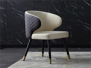 轻奢风格 实木腿 铜套 铁架 西皮背绣格餐椅(单把价格 需双数购买 单数不发货)