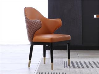 轻奢风格 橡木 不锈钢拉丝封釉镀钛金 西皮+背绣格餐椅(单把价格 需双数购买 单数不发货)