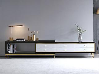 轻奢风格 钢琴烤漆 钢化玻璃 实木 不锈钢镀钛金 电视柜