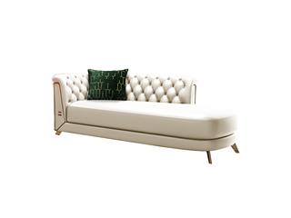 轻奢风格 进口实木 优质超纤皮 深点拉扣+不锈钢拉丝封釉镀钛金 活动贵妃沙发(抱枕随机发货)