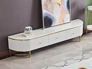 卡伦斯特 轻奢风格 大理石 不锈钢封釉镀钛金 E1级环保标准MDF板材 环保油漆1.8米电视柜