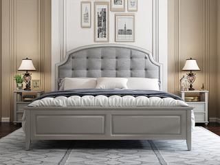 简美风格 泰国进口橡胶木 全实木 时尚灰科技皮 舒适靠枕1.8*2.0m床