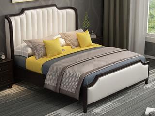 简美风格 泰国进口橡胶木 全实木 环抱式靠枕 象牙白1.8*2.0m床