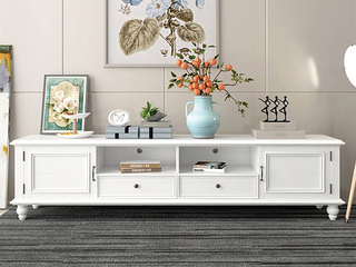 简美风格 泰国进口橡胶木 全实木 象牙白电视柜