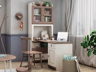 简美风格 主材北美白蜡木 新西兰松木 双拼色 双门F型书柜(含书桌台)