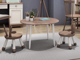 简美风格 主材北美白蜡木 新西兰松木 深咖色 象牙白 小圆桌