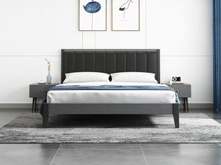 北欧风格 布纹铁灰 高密度海绵 雅黑超纤皮靠背 1.2m床