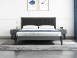 艺家 北欧风格 布纹铁灰 高密度海绵 雅黑超纤皮靠背 1.2m床