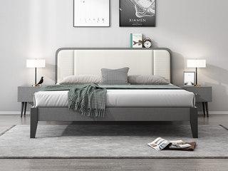 北欧风格 布纹铁灰 实木框架 编织纹米白皮靠背 1.8m床