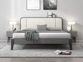 艺家 北欧风格 布纹铁灰 实木框架 编织纹雅白色皮靠枕 1.8m床