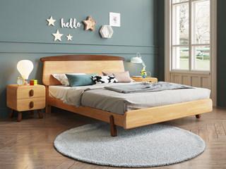 欧北之光 北欧风格 优质泰国进口橡胶木 水性环保油漆 1.5*2.0m实木儿童床