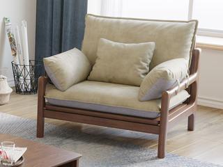北欧风格 榉木坚固框架 科技布面料 胡桃色 单人沙发