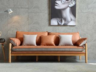 北欧风格 榉木坚固框架 科技布面料 原木色三人位沙发