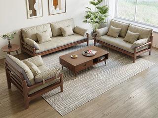 北欧风格 榉木坚固框架 科技布面料 胡桃色沙发组合(1+3)