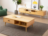 慕森 北欧风格 榉木坚固框架 原木色 茶几