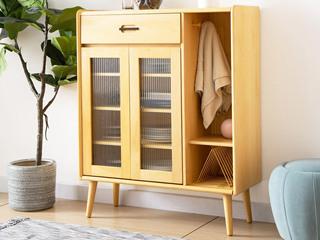 北欧风格 榉木坚固框架 原木色 鞋柜