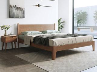 北欧风格 榉木坚固框架 原木清香 胡桃色1.8*2.0m大床