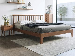 北欧风格 榉木坚固框架 创意圆柱床头 胡桃色1.8*2.0m床