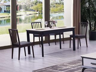 极简风格 实木框架 磨砂玻璃面 1.4m餐桌