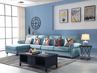 简美风格 优质麻布面料 百搭转角沙发(1+3+右贵妃)