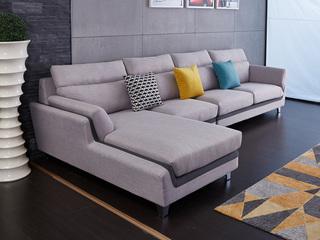 现代简约 麻布 松木底架 高海绵座包靠包 灰色沙发转角 沙发组合(1+3+右贵妃)