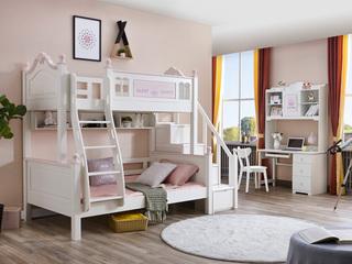 简美风格 泰国进口橡胶木 浅粉+白色 1.5m 上下床(不含步梯柜)