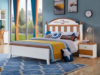 简美风格 泰国进口橡胶木 蜜桃金+白色床(1.2*2.0米床)
