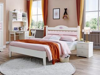 简美风格 泰国进口橡胶木 浅粉+白色床(1.2*2.0米床)